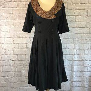 Lindy Bop Black Retro dress, leopard collar, XL